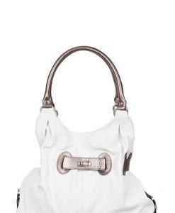 Geanta Rena alb cu gri din piele naturala model XL374 - Genti casual -
