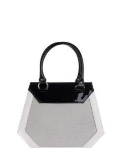 Geanta Rena eleganta negru cu alb din piele naturala RNXL3011 - Posete de ocazie -