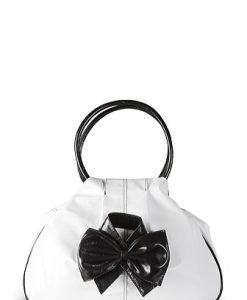 Geanta alb cu negru din piele naturala model 071 - Genti casual -