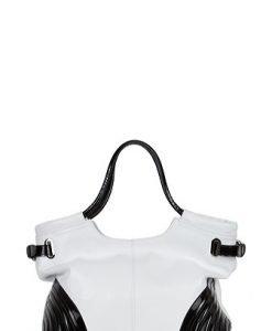 Geanta alb cu negru din piele naturala model Laura63 - Genti casual -