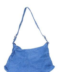 Geanta albastra din piele naturala croco model Calina - Genti casual -