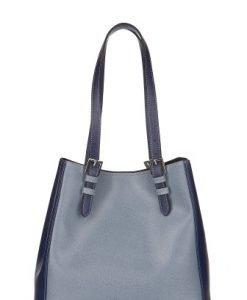 Geanta bleu cu bleumarin din piele naturala P135 - Genti office -