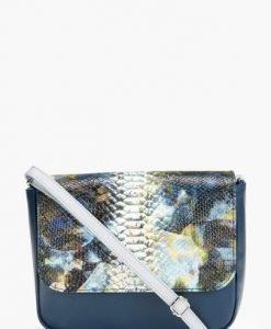 Geanta bleumarin cu snake print din piele naturala KAIA - Genti casual -
