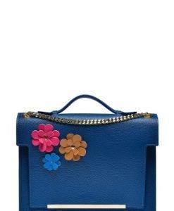 Geanta cu flori din piele naturala LAURENFLORI albastru - Genti casual -