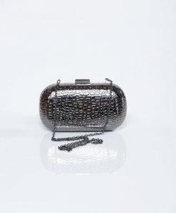 Geanta dama cu aspect metalic gri-inchis cu model in relief - Genti dama -