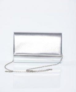 Geanta dama de ocazie argintie cu aspect metalic - Genti dama -