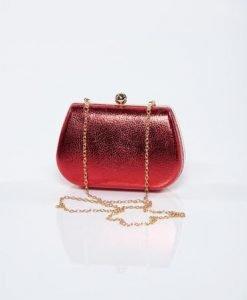 Geanta dama de ocazie rosie cu aspect metalic - Genti dama -