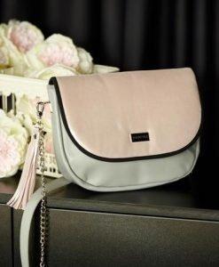 Geanta dama din piele naturala roz compartimentata cu buzunare interioare - Genti dama -
