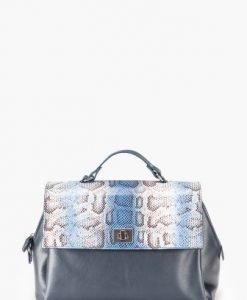 Geanta mare cu snake print din piele naturala MUSE-MA bleumarin - Genti office -