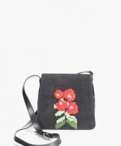 Geanta neagra cu broderie florala din piele intoarsa naturala AIDA-NR - Genti casual -
