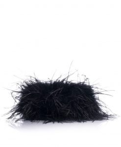 Geanta neagra cu fulgi din pene de stru Negru - Genti - Genti / Genti de umar