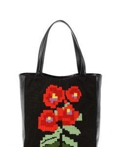 Geanta neagra cu model floral etnic SHOPPINGBAG1 - Genti casual -