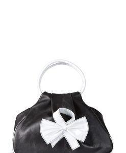 Geanta negru cu alb din piele naturala model 071 - Posete de ocazie -