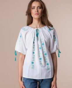 Ie traditionala lucrata manual cu broderie turquoise LIL001 - Ie romaneasca -