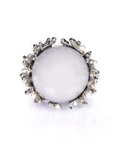 Inel argintiu cu piatra gri Argintiu - Accesorii - Accesorii / Inele