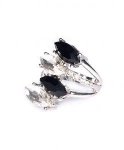 Inel cu pietre din sticla negre Argintiu/Negru - Accesorii - Accesorii / Inele