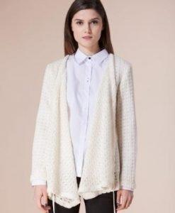 Jacheta alba din lana D2223 - Cardigane -