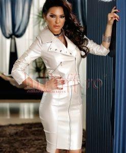 Jacheta argintie din piele ecologica - PALTOANE si GECI -