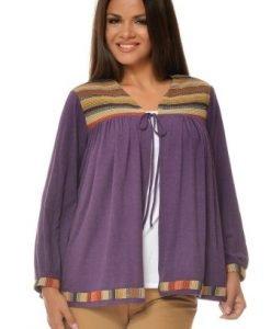 Jacheta casual cu imprimeu in dungi din tricot VA15 mov - Jachete -