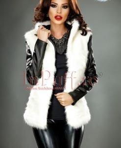 Jacheta dama cu blana alba si maneci din piele ecologica - PALTOANE si GECI -