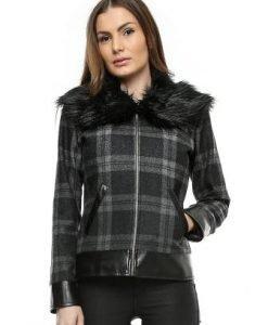 Jacheta din lana in carouri cu guler de blana JK01 - Jachete -