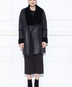 Jacheta din piele sintetica cu revere supradimensionate Negru - Imbracaminte - Imbracaminte / Haine de blana