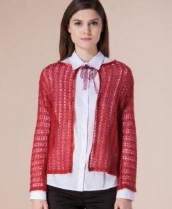 Jacheta grena din lana D2225 - Cardigane -