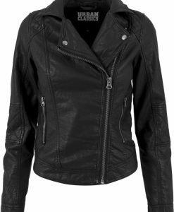 Jacheta imitatie piele Biker pentru Femei negru Urban Classics - Geci subtiri - Urban Classics>Femei>Geci subtiri