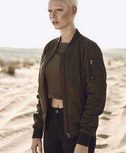 Jacheta nailon Twill Bomber pentru Femei oliv inchis-negru Urban Classics - Geci bomber - Urban Classics>Femei>Geci bomber