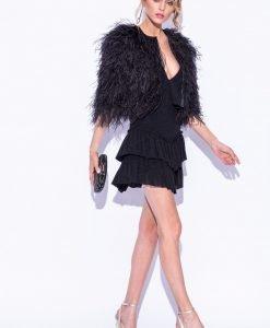 Jacheta neagra din pene de strut Negru - Imbracaminte - Imbracaminte / Jachete si cardigane / Jachete