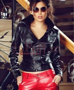Jacheta neagra din piele ecologica - PALTOANE si GECI -