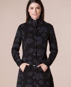 Jacheta neagra din tricot cu imprimeu floral gri 4359 - Jachete -
