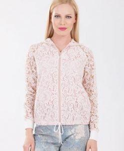 Jacheta roze din dantela D2117 - Jachete -