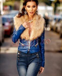 Jacheta scurta albastra din piele ecologica cu guler de blana - PALTOANE si GECI -