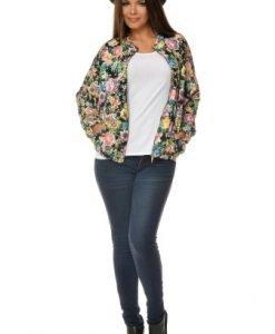 Jacheta scurta cu imprimeu floral PQ25 multicolor - Jachete -