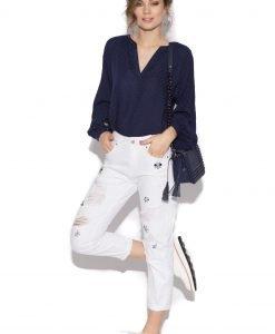 Jeansi cu pietre aplicate Alb - Imbracaminte - Imbracaminte / Pantaloni