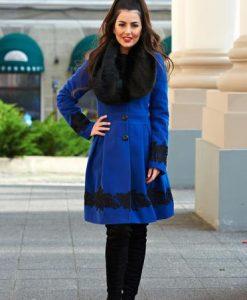 Palton LaDonna Victorian Romance Blue - Paltoane -