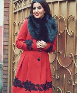 Palton LaDonna Victorian Romance Red - Paltoane -
