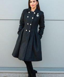 Palton PrettyGirl Military Style DarkGrey - Paltoane -