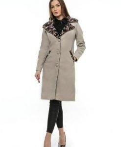 Palton bej din lana cu guler din stofa PF10 - Paltoane -