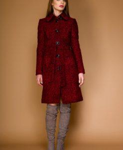 Palton clasic din stofa de lana tip bucle OZANA rosu-negru - Outlet -