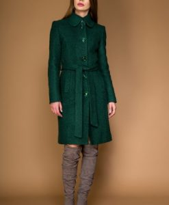Palton clasic din stofa de lana tip bucle OZANA verde - Outlet -