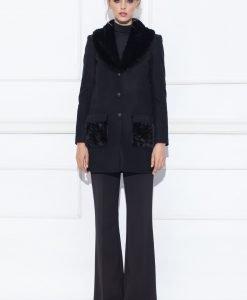 Palton cu detalii pe buzunare Negru - Imbracaminte - Imbracaminte / Paltoane