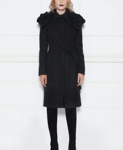 Palton cu detalii pe guler Negru - Imbracaminte - Imbracaminte / Paltoane