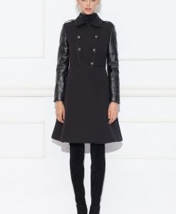 Palton cu maneci din piele ecologica Negru - Imbracaminte - Imbracaminte / Paltoane