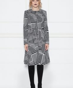 Palton cu print geometric Alb/Negru - Imbracaminte - Imbracaminte / Paltoane