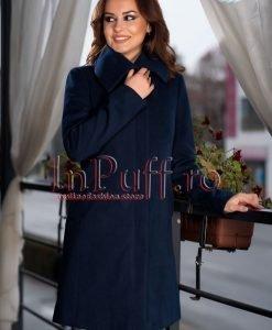Palton dama bleumarin elegant de stofa - PALTOANE si GECI -