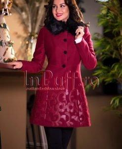Palton dama bordo cu aplicatii florale din piele - PALTOANE si GECI -