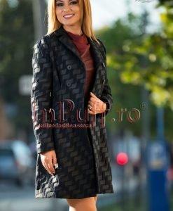 Palton dama brocard bleumarin - PALTOANE si GECI -