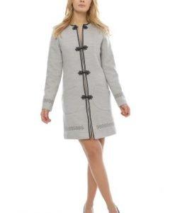 Palton dama cu aplicatii brodate din stofa PF21 gri - Paltoane -